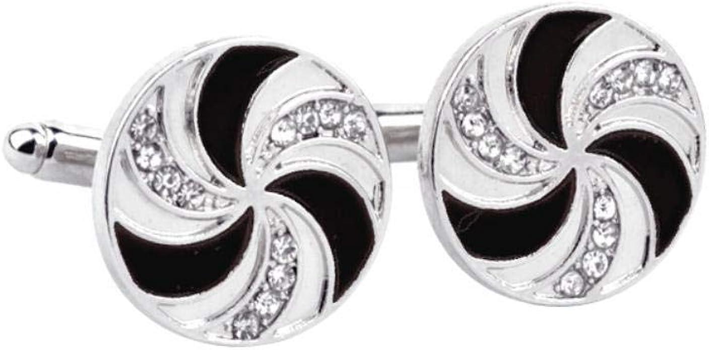Bledyi Gemelos de plata para camisa de hombre, tono clásico, redondo, forma de molino de viento, color negro, mangas de pegamento para camisa, regalo para boda, negocios, graduación: Amazon.es: Joyería