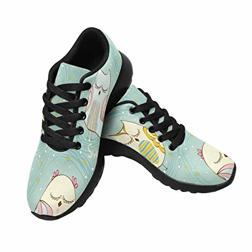 InterestPrint Womens Jogging Running Sneaker Lightweight Go Easy Walking Comfort Sports Running Shoes Cartoon Sleeping Owl Multi 1 Ncfcd