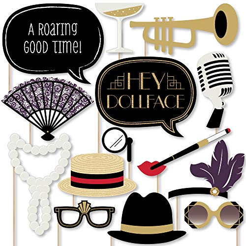 Big Dot of Happiness Roaring 20's - Twenties Art Deco Jazz 1920s Photo Booth Props Kit - 2020 New Year's Eve Party - 20 ()