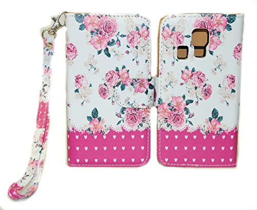 Pink Flower Design Wallet Leather Case for Kyocera Hydro Icon C6730 Hydro Life C6530 with Kickstand - Kyocera Wallet Phone Case