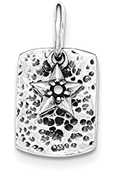 Sterling Silver Antiqued Texured Black CZ Star Dangle Pendant
