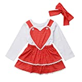 Toddler Baby Girl 3Pcs Valentine's Day Outfit Long Sleeve Top+Suspender Red Dress and Headband (Red, 6-12 Months)