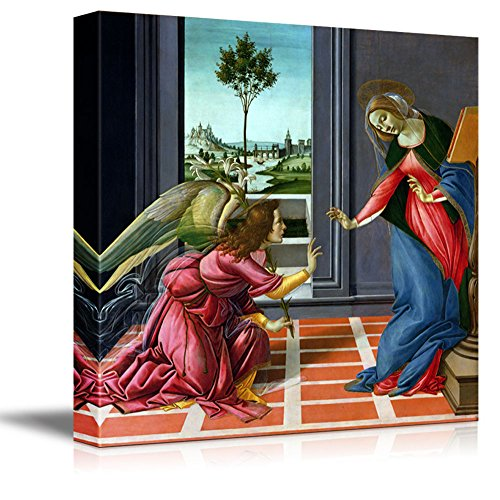 wall26 - Annunciation by Sandro Botticelli - Canvas Print Wall Art Famous Painting Reproduction - 12