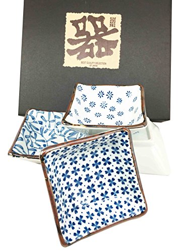 Made in Japan Blue Multi Pattern Square Glazed Ceramic Sauce