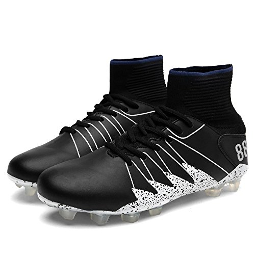 Xing Lin Chaussures De Football Chaussures De Football Nouveau Spike High Top MenS Football Chaussures Soft Comfort Portable Antidérapant Anti-Crash, 43, Noir