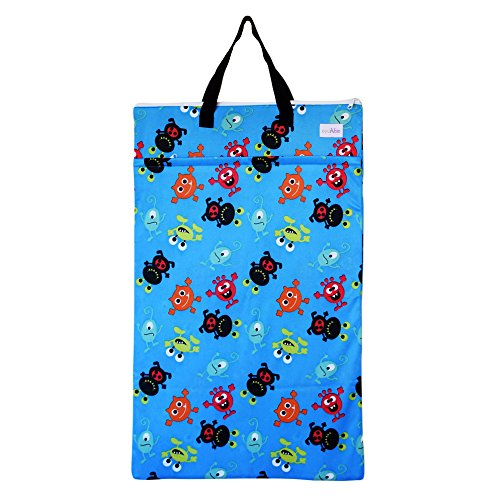 Large Hanging Wet Dry Bag for Baby Cloth Diapers or Laundry (Monsters) (Monster Heavy Bag)