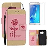 For Samsung Galaxy S6 Wallet Case Holster with Screen Protector ,OYIME [Lovers Under Rose] Design Leather Kickstand Magnetic with Card Holder Full Body Protective Flip Cover - Pink