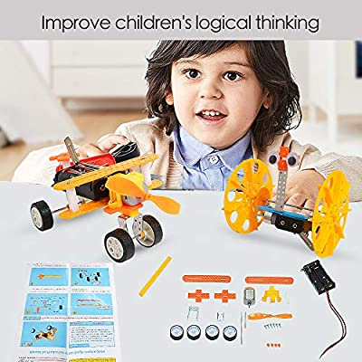 JCREN DIY Electric Motor Robotic Science Kits ,STEM Toys Science Experiment Kits Engineering Building Science Project for Boys Girls-Doodling,Balance Car,Reptile Robot,Biplane(4 Sets): Toys & Games