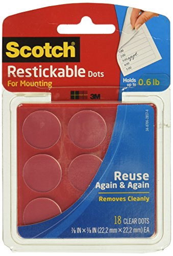 Scotch(R) Restickable Mounting Dots, Clear Circles, Pack of 18