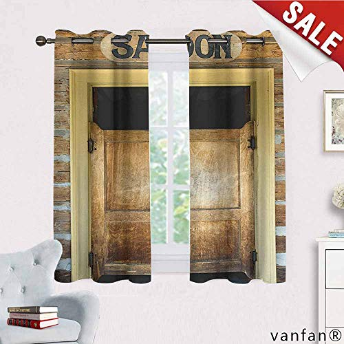 (Saloon Decor Collection curtains for party decoration,Authentic Saloon Doors Of Old Western Building In Montana Ghost Town Image Print curtains thermal insulated,Sienna Cream Brown W72