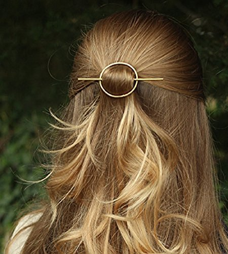 Leiothrix Vintage Alloy Golden Circle Hair Clip for Women and Girls on any Occasion