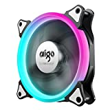 pc fan adjustable - aigo 120mm RGB Replacement LED PMW Silent High Airflow Color Adjustable Computer 6 Pin Case Fan PC Cooler Radiator Fan without Controller, Fan Speed and Light Speed Controllable (One Pack C3/C5 Fan)