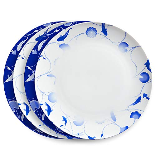 ZENS Bone China Dinnerware Set,12 Inch Fine Porcelaine Dinner Plates of 4, Asain Blue and White Floral Serving Platters for Housewarming Gifts (Floral And Blue White Plates)