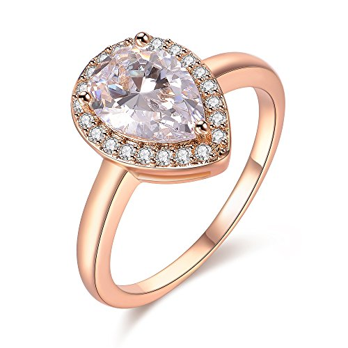 Drop Zirconia Champagne Cubic - dnswez Champagne Gold Teardrop Pear Cut CZ Cubic Zirconia Promise Wedding Band Engagement Ring(8)