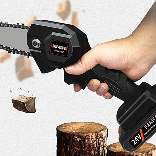 Mini One-hand Saw Electric Woodworking Chainsaw Wood Cutting Battery 550w 24v