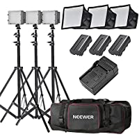 Neewer 3-Pack CN-126 LED Video Light Lighting Kit for DSLR Cameras, Includes: (3)Dimmable LED Panel,(3)6 feet Light Stand,(3)Softbox,(6)Color Filter,(3)2600mAh Li-ion Battery,(1)Charger,(1)Carry Bag