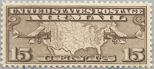 15c Brown Map Airmail-MNH Single-Scott (Mnh Map)