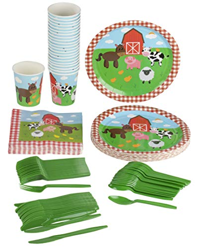 Farm Animals Party Supplies – Serves 24 – Includes Plates, Knives, Spoons, Forks, Cups and Napkins. Perfect Barn Animal Party Pack for Kids Barnyard Animal Themed Parties. -
