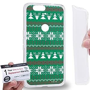 Case88 [Huawei Nexus 6P (2015)] Gel TPU Carcasa/Funda & Tarjeta de garantía - Art Fair Isle Winter Prints Turquoise Green