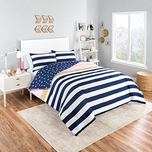 Vue Glam Stripe Comforter Set, Queen, Pink
