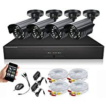 SEGUARD Surveillance Cameras system, dvr kit, security camera system 4 CH H.264 FULL D1 DVR with 4 Cameras,Support Iphone, Android, WinCE view, with all accessories (HDD Not Included)
