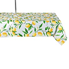 DII CAMZ11292 Spring & Summer Outdoor Tablecloth, Spill Proof and Waterproof with Zipper and Umbrella Hole, Host Backyard Parties, BBQs, Family Gatherings - (Seats 10 to 12), 60x120 w, Lemon Bliss