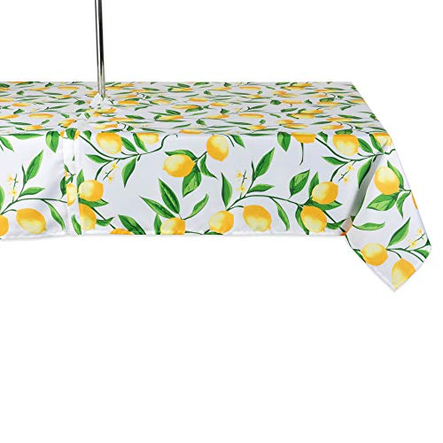 DII CAMZ11293 Spring & Summer Outdoor Tablecloth, Spill Proof and Waterproof with Zipper and Umbrella Hole, Host Backyard Parties, BBQs, Family Gatherings - (Seats 6 to 8), 60x84 w, Lemon Bliss ()