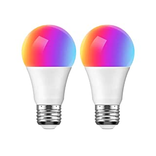 Smart Light Bulb, Compatible with Alexa Google Home and IFTTT, WiFi LED Bulb A19 E26, Multi-Color and Dimmable, No Hub Required, 7.5W (65W Equivalent), 2 Pack