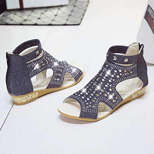 Bohemia cuña Ladies wuayi para de con a pez y Sandalias Negro hueca Roman Mujer Summer boca Shoes O00qwrEx