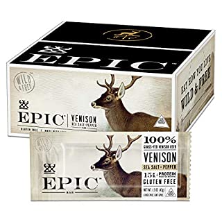 Epic All Natural Meat Bar 100% Grass Fed, Venison, Sea Salt & Pepper, 1.5 ounce bar, 12 Count
