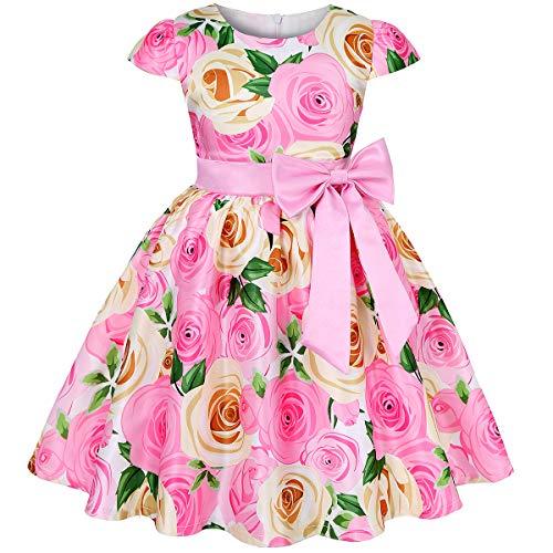Mu yangren Girl Dress Wedding Bridesmaid Party Flower Princess Kids Dresses Pink