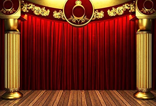 Baocicco 7x5ft Theater Red Stage Backdrop Photography Background Stage Lights Red Curtains Play Show Happy Birthday Backdrop Baby Shower Backdrop Photo Shooting Props Studio Video Props Photo Booth