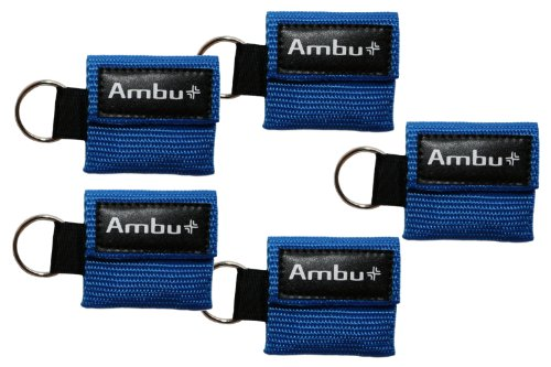 AMBU CB-3021-005-BLU Blue Nylon Res-Cue Key CPR Mask with Mini Keychain Pouch (Pack of 5)
