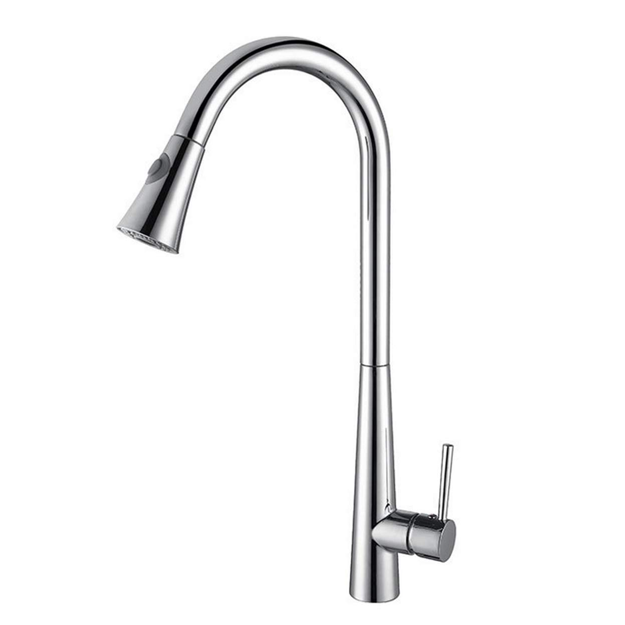Chrome Kitchen Faucet Pull-Down Universal Single Hole greenical Telescopic redary Drawing Zinc Copper Hot and Cold Adjustment Sink Water-tap,Brushed