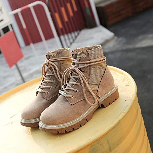 Suede Helly Flat Booties Mujeres De ALIKEEY Khaki Toe Shoes Botas Cordon NiñOs Hansen Zapatos Martin Ocio Round Messi XdtxYxO