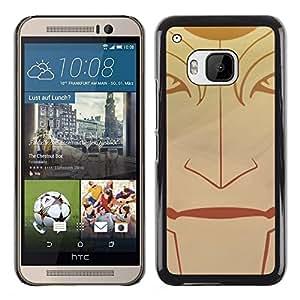 KLONGSHOP // Cubierta de piel con cierre a presión Shell trasero duro de goma Protección Caso - Cara tribal - HTC One M9 //