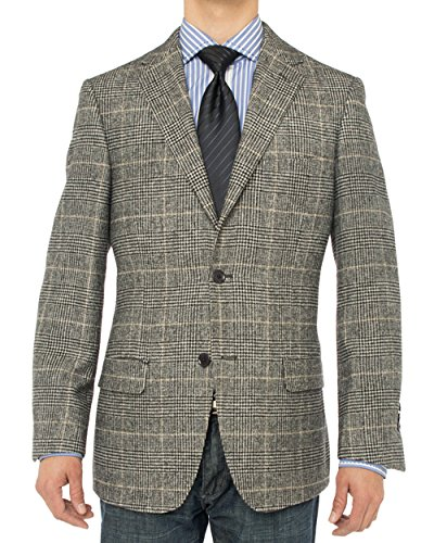 LN LUCIANO NATAZZI Men's Luxurious Camel Hair Blazer Modern Fit Suit Jacket (48 Long US / 58 Long EU, Charcoal Plaid)