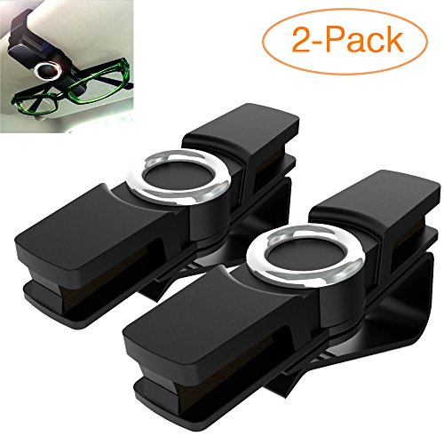 Attom Tech Glasses Holder Clip for Car Sun Visor, Multi-position Rotational 360 Degree Rotatable Design for Sunglasses, Glasses, Card, Tickets, Cash ()