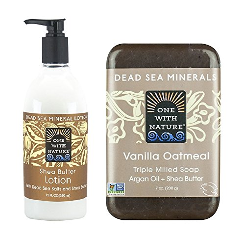 One With Nature Shea Butter Lotion and Vanilla Oatmeal Soap Bar Bundle with Pomegranate, Green Tea Leaf, Ginger Root, Vitamin E and Aloe Vera, 12 fl. oz. and 7 oz. each -