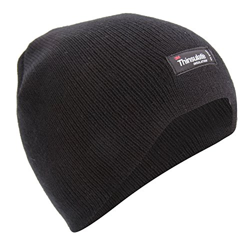 FLOSO® Childrens/Kids Plain Thinsulate Thermal Winter Beanie Hat (3M 40g) (7-10 Years) (Charcoal)
