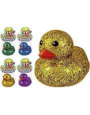 "Glitter Rubber Ducks Metallic Colors 3"" (4 Unit Assorted) Rubber Duckies Fidget Toy for Kids, Sensory Play, Stress Relief, Stocking Stuffers, Supplies Pinata Filler in Bulk. Plus Sticker. 4343-4s"