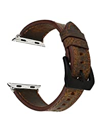 SSBRIGHT Crazy Horse Genuine Leather Strap with Stainless Steel Frosted Buckle For Apple Watch Band 42mm