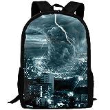 3D Unisex Backpack City Tornado Storm Weather Pattern Lightweight Laptop Bags Shoulder Bag School Bookbag Daypacks