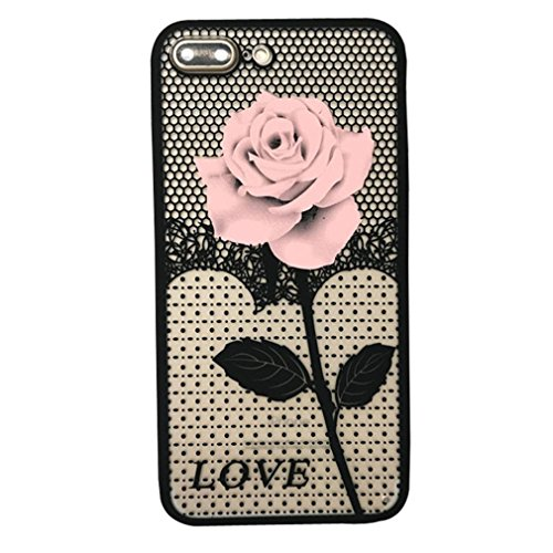 For iPhone 7 Plus Case, HP95(TM) Women Fashion Thin Mesh Rose Heat Dissipation Case Cover For iphone 7 Plus 5.5inch (Pink)