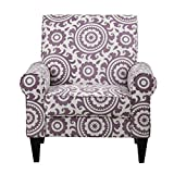 Cream and Purple Arm Chair with Paisley Pattern Made From Polyester Blend, Transitional Style Included Cross Scented Candle Tart