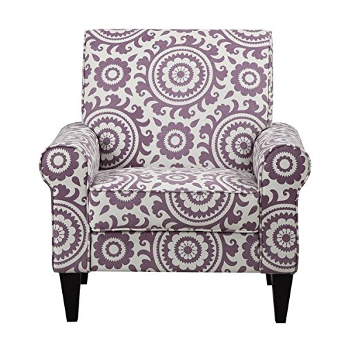 Cream and Purple Arm Chair with Paisley Pattern Made From Polyester Blend, Transitional Style Included Cross Scented Candle Tart by H.L.