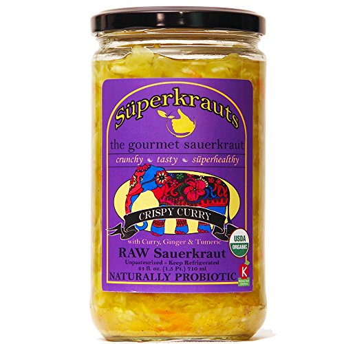 """Curry"" gourmet sauerkraut: organic, raw fermented, unpasteurized, probiotic, kosher, vegan and gluten free. 24 fl. oz, 16 flavors available. No shipping charges with minimum. by Superkrauts"