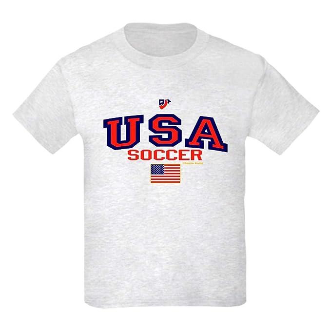 2355e510a75 CafePress USA American Soccer Kids Light T Shirt Kids Cotton T-Shirt Ash  Gray