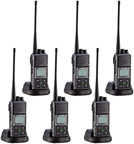 Two Way Radios, Sanzuco 2 Way Radios Long Range 20 Channel Hands Free UHF 5 Miles Rechargable Walkie Talkie Two-Way Radio Interphone for Outdoor Camping Hiking Black,Pack of 6