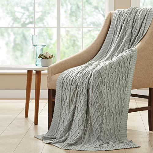 Amrapur Overseas 100% Cotton Oversized Cable Diamond Knit Throw, 50' x 70', Dusty Sage